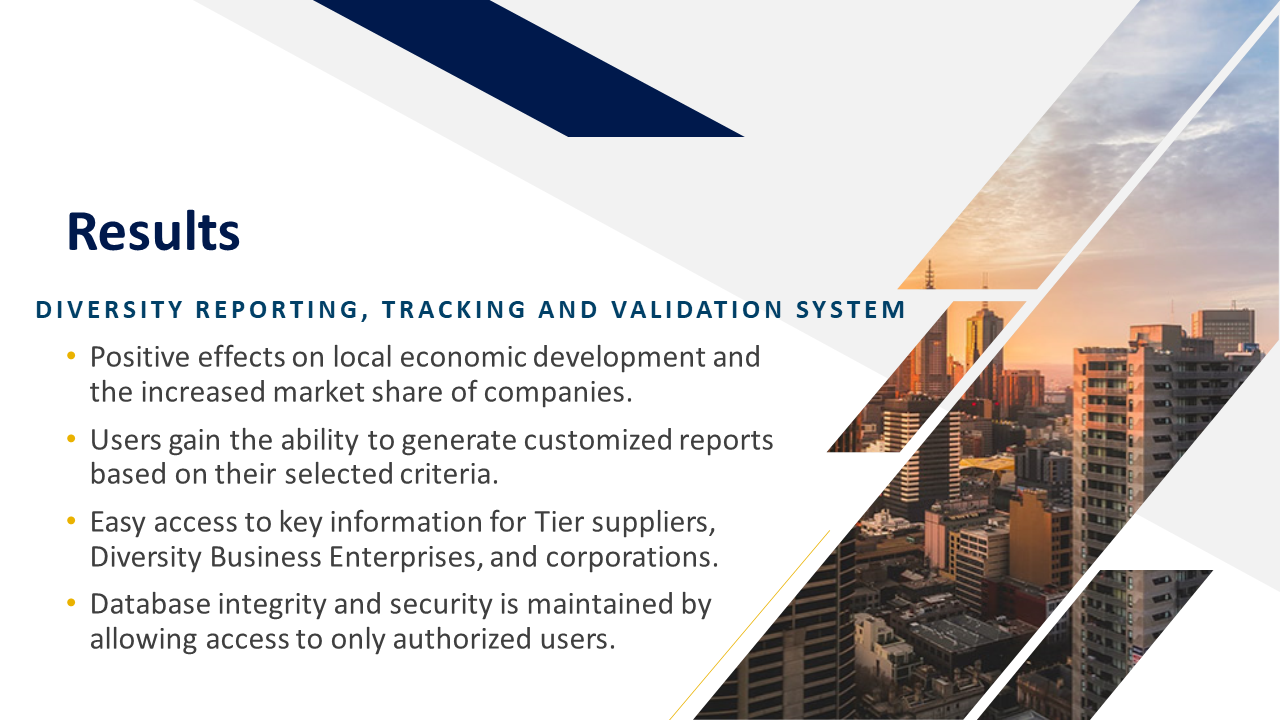 Diversity Reporting, Tracking, and Validation System Results